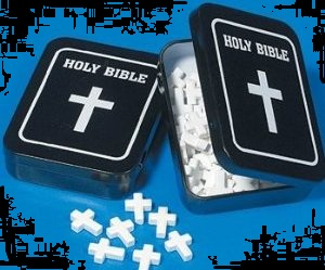 Holy Bible Tin and Cross Shaped Mint Candies For Sale